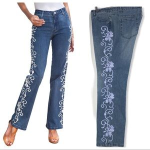 DENIM 24/7 | High Waisted Embroidered Plus Size